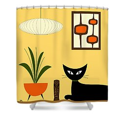 Cat On Tabletop With Mini Mod Pods 3 Shower Curtain