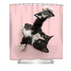 Cat Selfie Shower Curtain