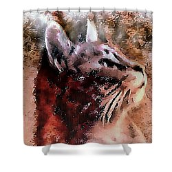 Cat Watching Falling Rain Shower Curtain