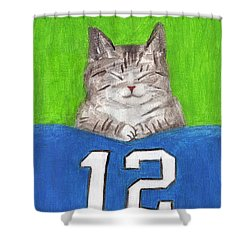 Cat With 12th Flag Shower Curtain