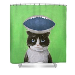 Cat With A Football Shower Curtain