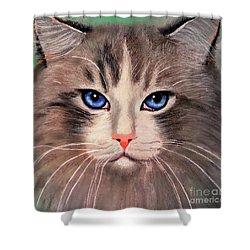 Shower Curtain featuring the digital art Cat With Blue Eyes by Maja Sokolowska