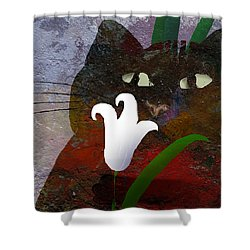 Cat With Lily Shower Curtain