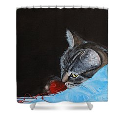 Cat With Red Yarn Shower Curtain
