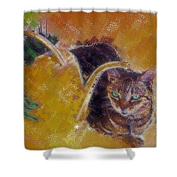 Cat With Watering Can Shower Curtain