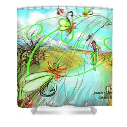 Catails And Flys Shower Curtain