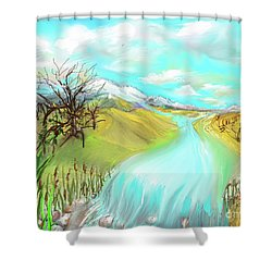 Catails Before The Fisherman Shower Curtain