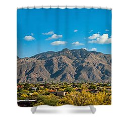 Shower Curtain featuring the photograph Catalina Mountain Panorama by Dan McManus