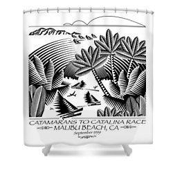 Catamarans To Catalina Race Shower Curtain