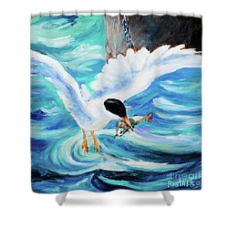Shower Curtain featuring the painting Catch by Igor Postash