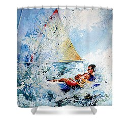 Shower Curtain featuring the painting Catch The Wind by Hanne Lore Koehler