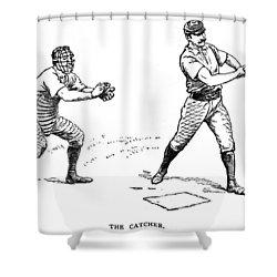 Catcher & Batter, 1889 Shower Curtain by Granger