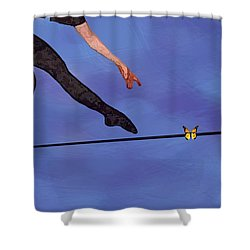 Shower Curtain featuring the painting Catching Butterflies by Steve Karol
