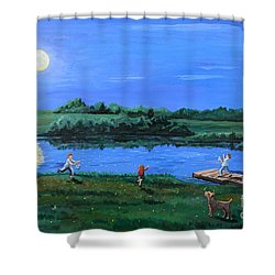 Catching Fireflies By Moonlight Shower Curtain
