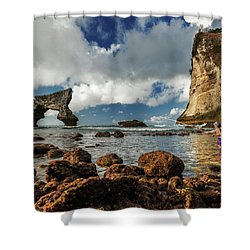 catching fish in Atuh beach Shower Curtain