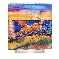 Shower Curtain featuring the painting Catching The Sun by Zaira Dzhaubaeva