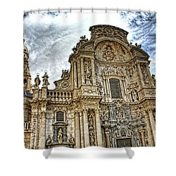 Shower Curtain featuring the digital art Catedral De Murcia by Angel Jesus De la Fuente