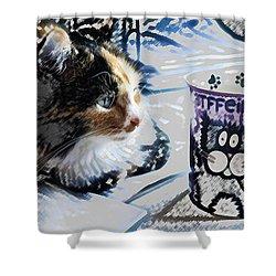 Catfinated Kitty Shower Curtain