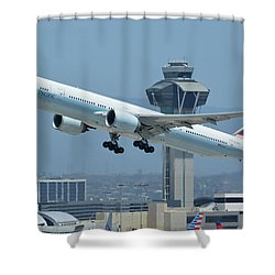 Cathay Pacific Boeing 777-367er B-kph Los Angeles International Airport May 3 2016 Shower Curtain by Brian Lockett