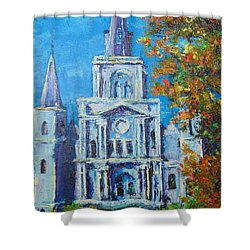 Cathedral In Autumn Shower Curtain