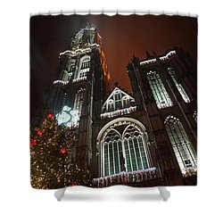 Cathedral In The Mist Shower Curtain by Erik Tanghe