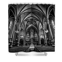 Cathedral Of The Madeline In Black And W Shower Curtain