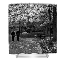Cathedral Park In Fall Bw Shower Curtain