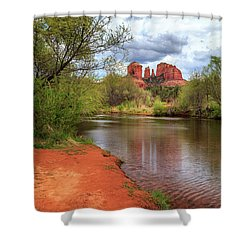 Shower Curtain featuring the photograph Cathedral Rock From Oak Creek by James Eddy