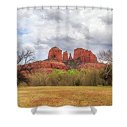 Shower Curtain featuring the photograph Cathedral Rock Panorama by James Eddy
