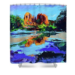 Shower Curtain featuring the painting Cathedral Rock - Sedona by Elise Palmigiani