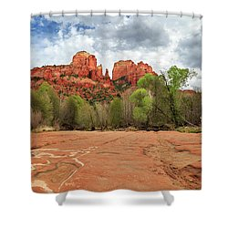 Shower Curtain featuring the photograph Cathedral Rock Sedona by James Eddy