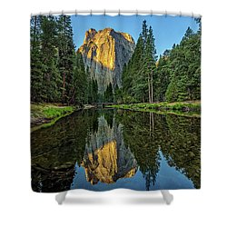 Cathedral Rocks Morning Shower Curtain by Peter Tellone