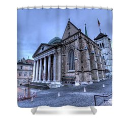 Cathedral Saint-pierre, Peter, In The Old City, Geneva, Switzerland, Hdr Shower Curtain