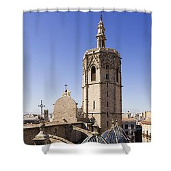 Cathedral Valencia Micalet Tower Shower Curtain by For Ninety One Days