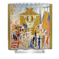 Shower Curtain featuring the photograph The Cathedrals Of Wall Street - History Repeats Itself by John Stephens