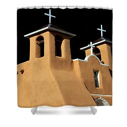 Shower Curtain featuring the photograph St Francis De Assi Church  New Mexico by Bob Christopher