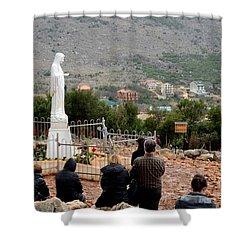 Catholic Pilgrim Worshipers Pray To Virgin Mary Medjugorje Bosnia Herzegovina Shower Curtain