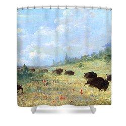 Catlin: Elk & Buffalo Shower Curtain by Granger