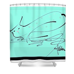 Shower Curtain featuring the mixed media Catnap In Blue by Larry Talley