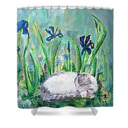 Catnap In The Garden Shower Curtain