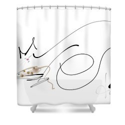 Shower Curtain featuring the mixed media Catnap With The Faithful Old Catnip Mouse by Larry Talley