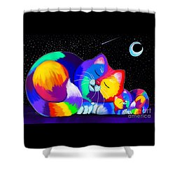 Shower Curtain featuring the drawing Catnaps For Two by Nick Gustafson