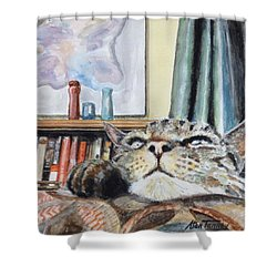 Shower Curtain featuring the painting Catnip by Stan Tenney