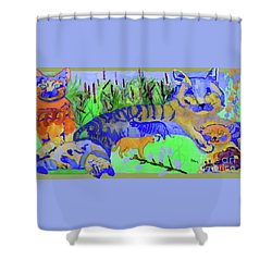 Cats And A Fiddle Shower Curtain