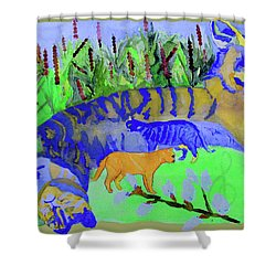 Cats And A Fiddle Shower Curtain by Sandy McIntire