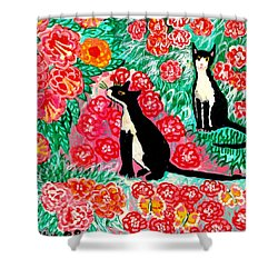 Cats And Roses Shower Curtain by Sushila Burgess