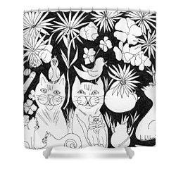 Cats In The Garden Shower Curtain by Lou Belcher