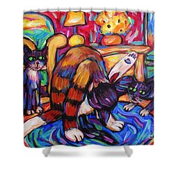 Cats In The Lounge Shower Curtain by Dianne  Connolly