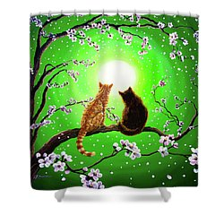 Cats On A Spring Night Shower Curtain