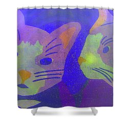 Shower Curtain featuring the photograph Cats On A Wall by John King